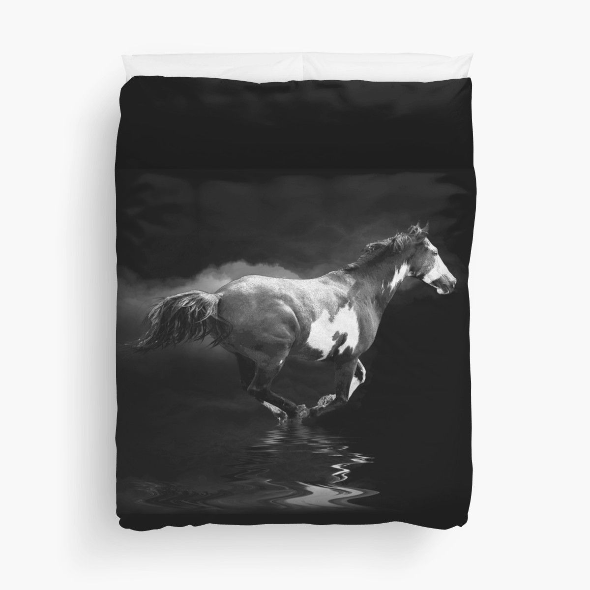 Galloping Pinto Horse and Smoke by Val  Brackenridge duvet cover