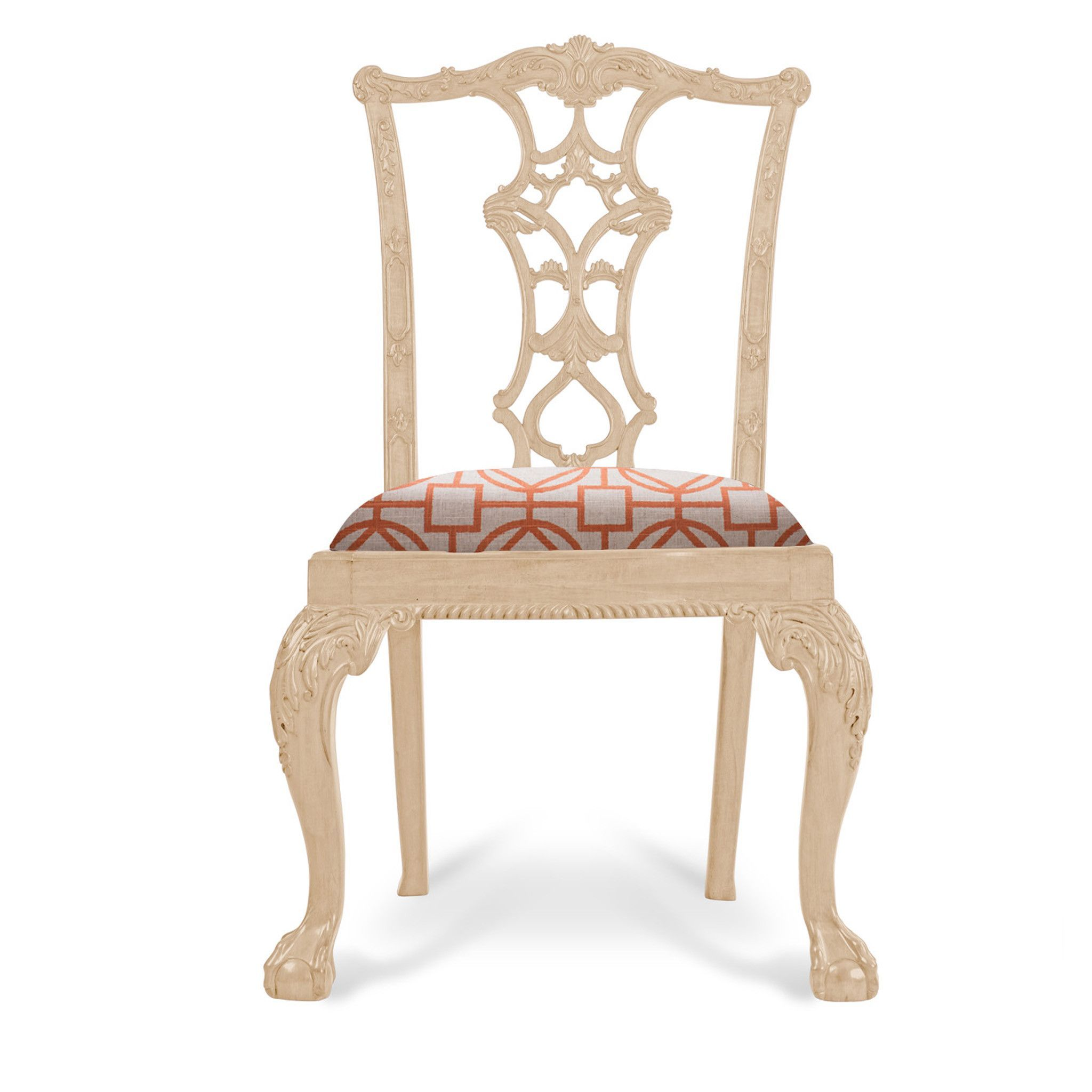 Julia Chippendale Side Chair Cream Finish Pattern