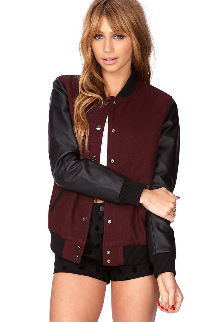 low priced 5c99a ba0a9 college jacket forever21 | Fashion | Collegejacke, Jacken ...