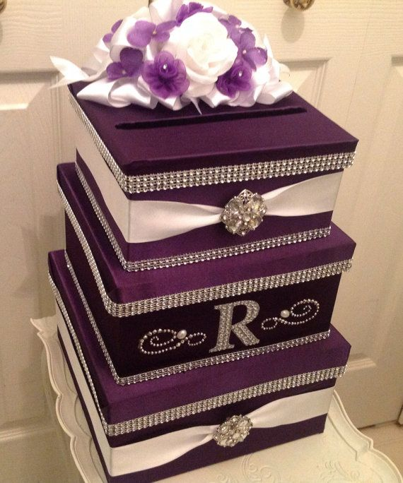 Wedding Card Holder, Card Box With Lock, Purple Card