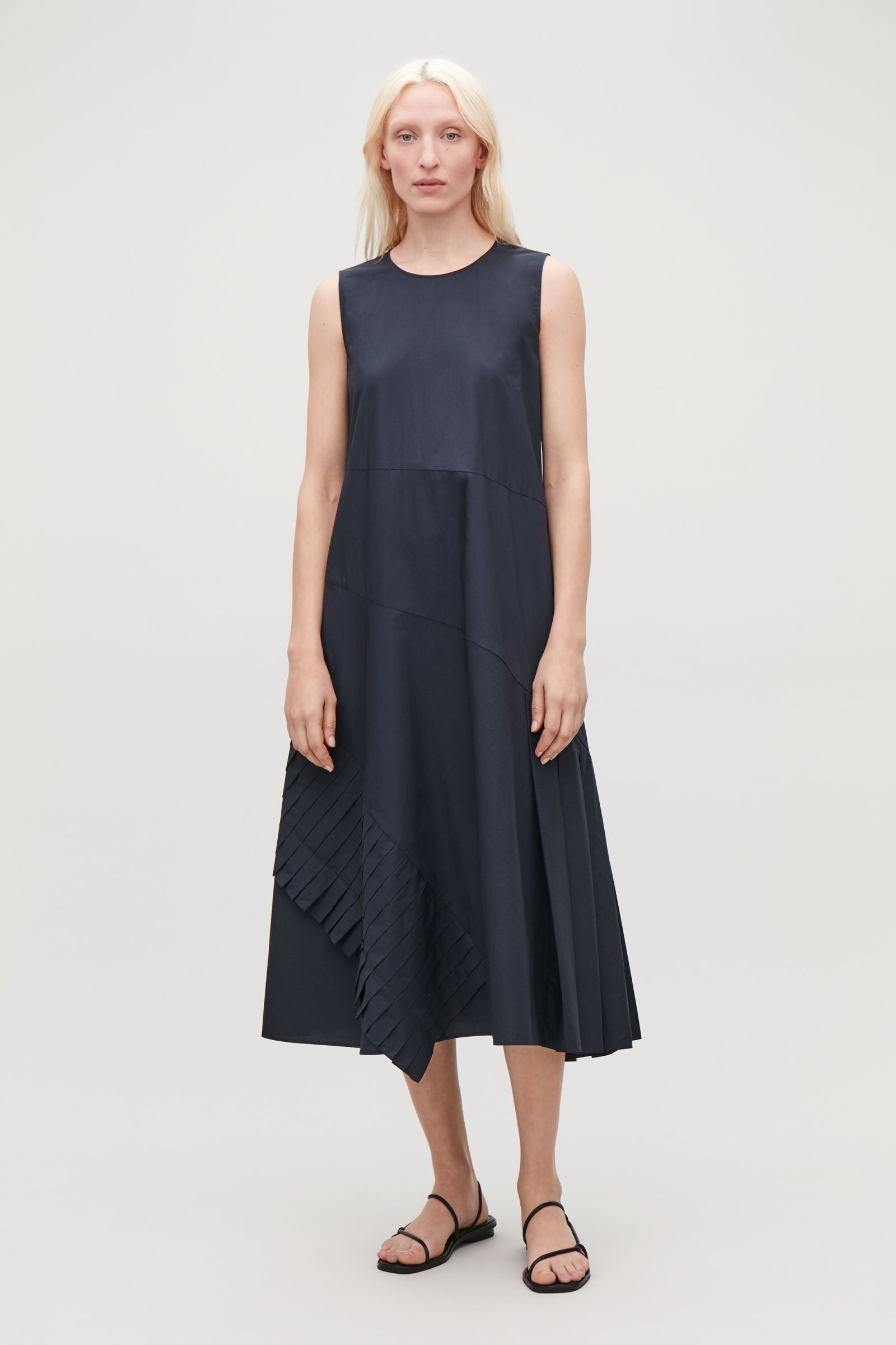 029e20dbe8db A-LINE DRESS WITH PLEATED DRAPE - Navy - Dresses - COS | Cos in 2019 ...