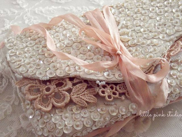 Pretty button art clutch, ivory with pink lace ~