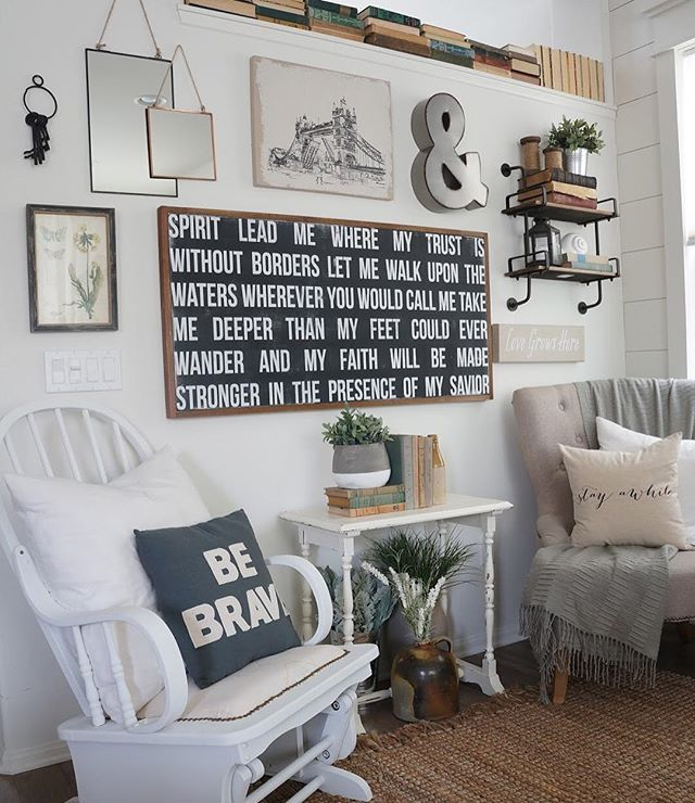 Cool idea to decorate an awkward ledge up high in your for Living room decor quotes