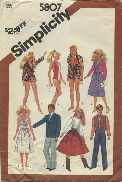 Vintage Barbie™ Doll Clothes Sewing Pattern | Wardrobe for 11½ ...