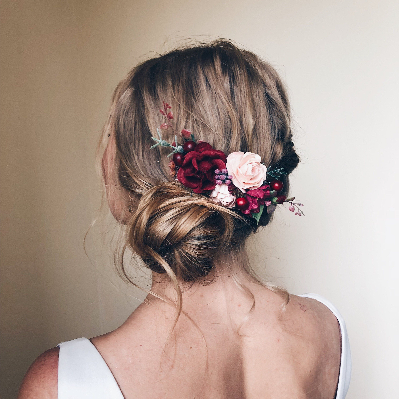 romantic wedding Hair comb wedding hair accessories wedding hair comb ivory red wedding Bridal wedding flower hair comb