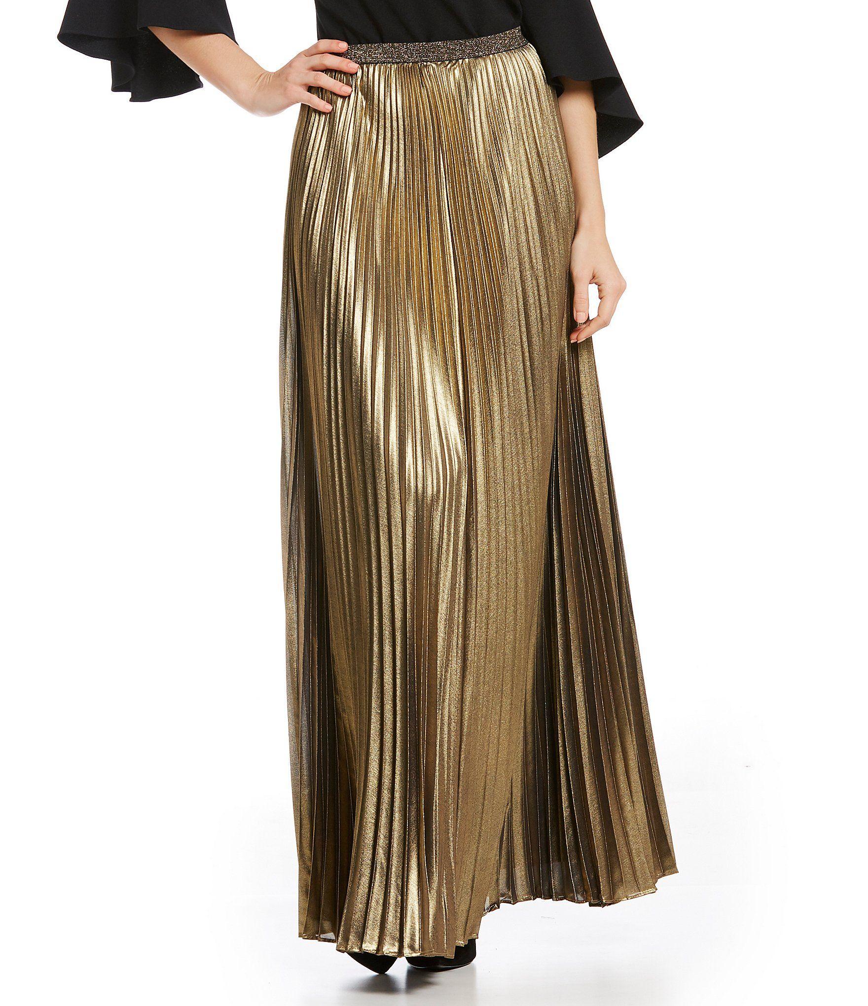 Eliza j metallic pleated maxi skirt dillards