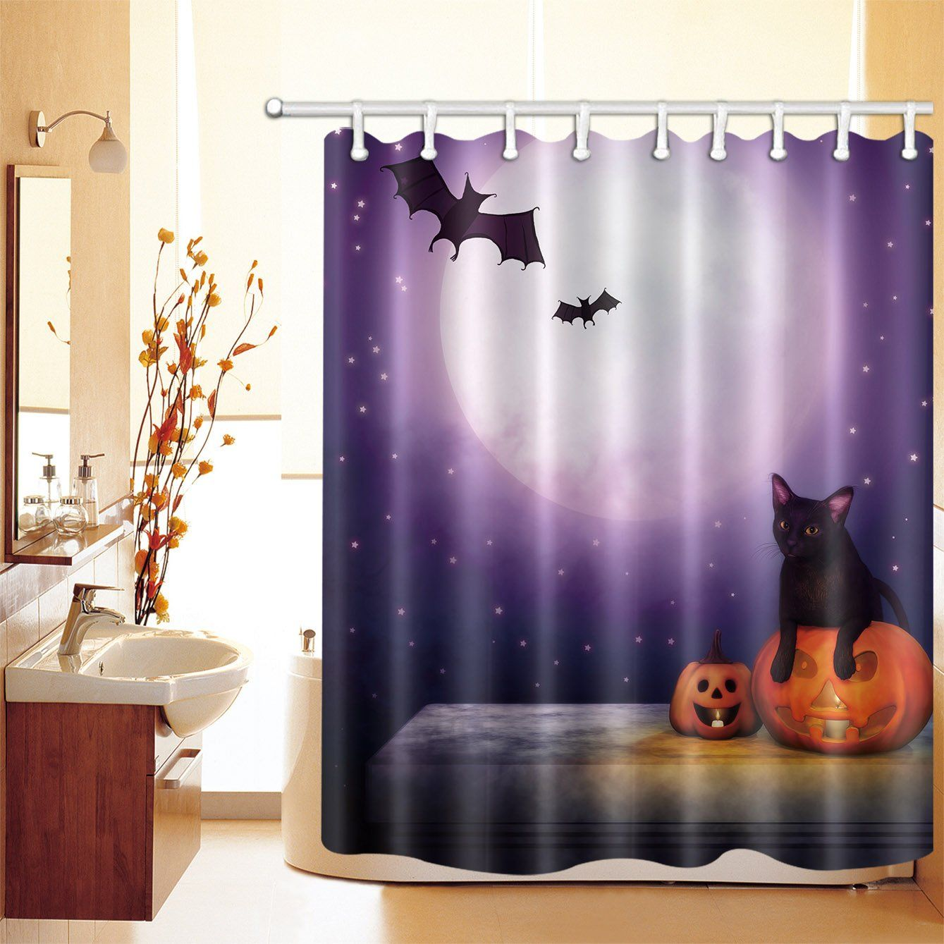 Lb Black Cat Bat Pumpkin Scary Night Shower Curtain Set Spooky