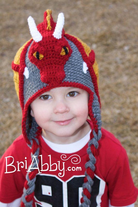 Crochet el sombrero de dragón ARCHIVO PDF por BriAbbyHMA en Etsy Gorros  Divertidos 292f8dc2c33