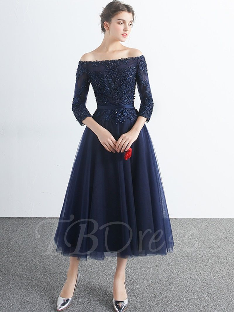 1d43f3aaa6ef 3/4 Length Sleeves A-Line Off-the-Shoulder Appliques Beading Tea-Length  Evening Dress