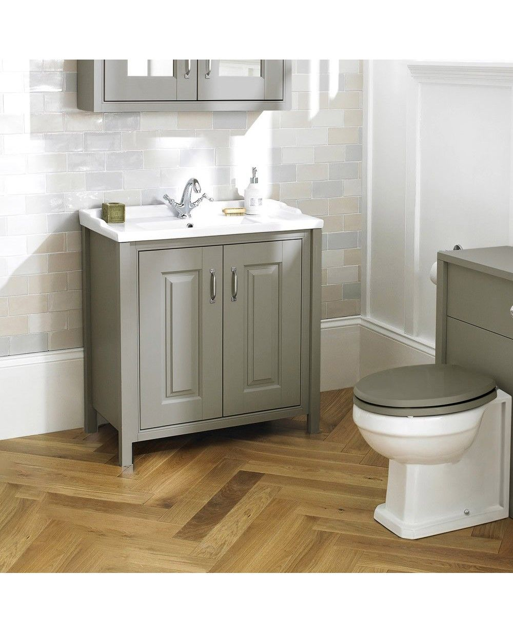 Braxton Stone Grey Traditional 800mm Freestanding 2 Door Vanity Unit Ceramic Basin Traditional Bathroom Traditional Bathroom Cabinets Traditional Bathroom Furniture