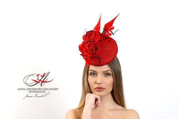 Red Fascinator mini hat with veil Melbourne Kentucky Royal