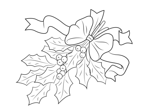 Christmas Holly Pictures To Color