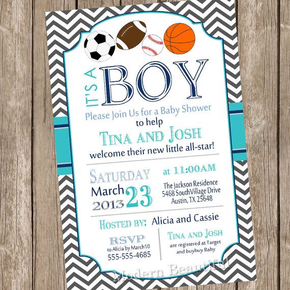 Rustic Football Baby Shower Invitation ItS A Boy Blue Chevron