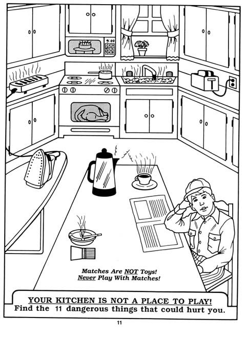 cooking safety tips for kids coloring sheets Click For JPG