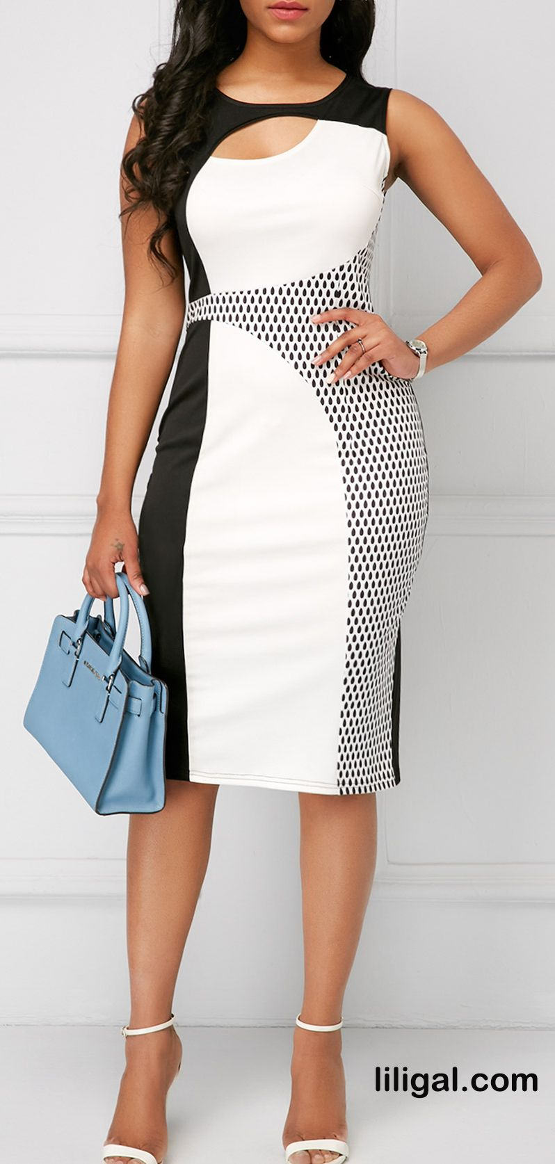 Printed Sleeveless Round Neck Cutout Sheath Dress