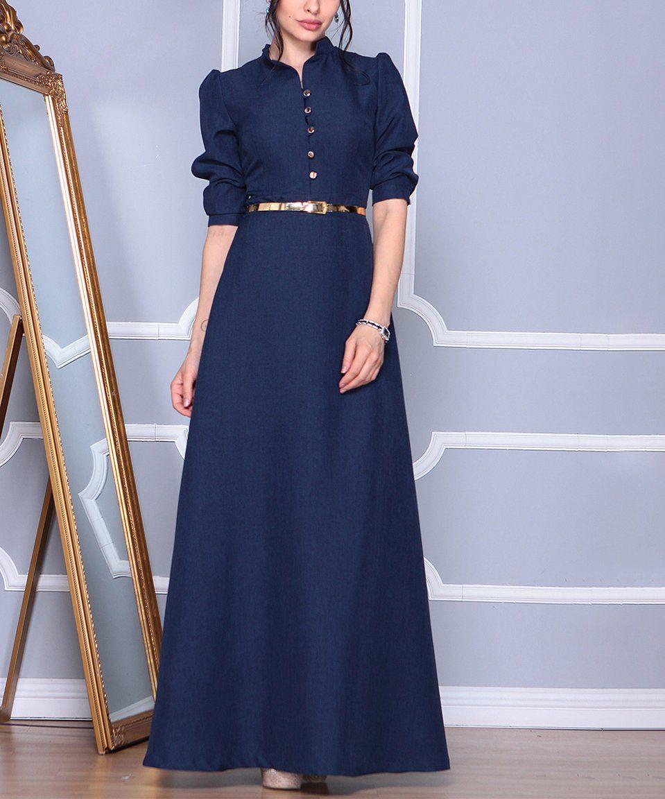 Take a look at this navy belted linenblend mandarincollar dress