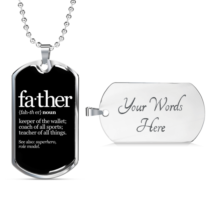 Father Noun Dog Tag Luxury Men Necklace Dog Tag Necklace Gifts