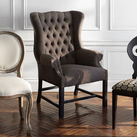 Oliver Tufted Upholstered Dining Arm Chair In Charles Tweed And Prepossessing Cushioned Dining Room Chairs Decorating Inspiration