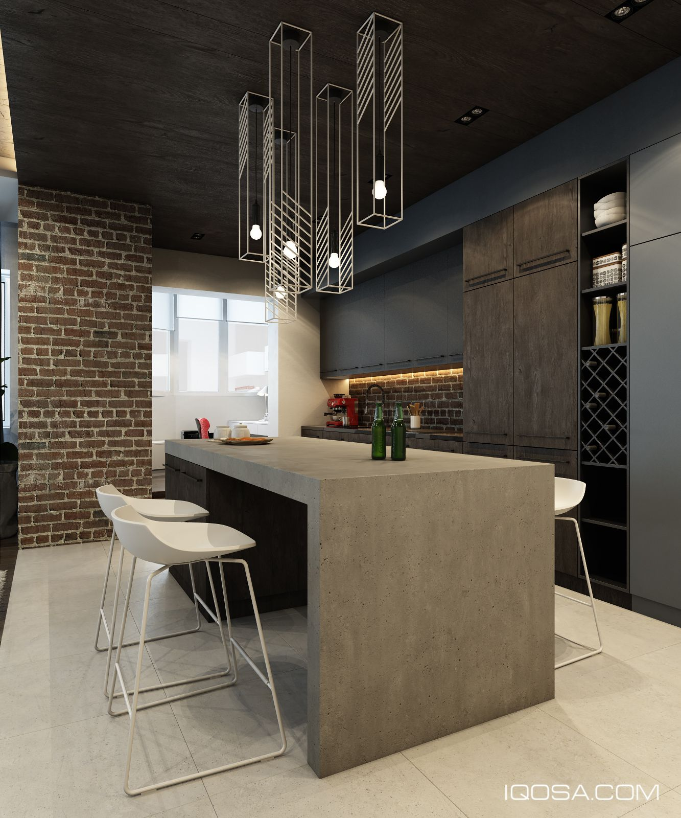Chez Moi Apartments: Kitchen In Concrete Look, Black And Brick Wall (wallpaper
