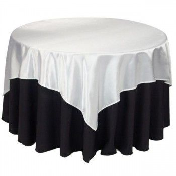 90 White Round Polyester Tablecloths Black And White Tablecloth