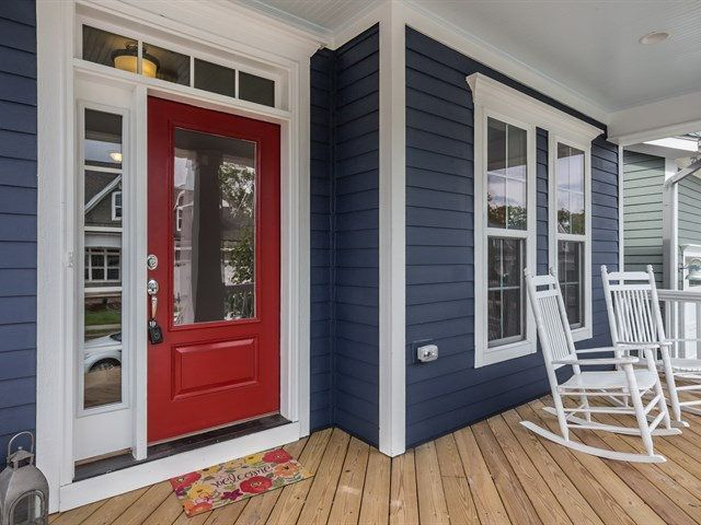https://flic.kr/p/E5HifT | Front Porch | Exterior – Stone - Southern Ledge - Midnight Slate Exterior - Windows White Exterior - Siding  - Naval SW6244 Exterior – Trim - Extra White SW7006 Exterior - Gutters Downspouts Low-Gloss White Colors - Exterior - Shakes  - Online SW7072 Colors - Exterior - Front Door  - Bolero SW7600 Colors - Exterior - Shingles Charcoal Black