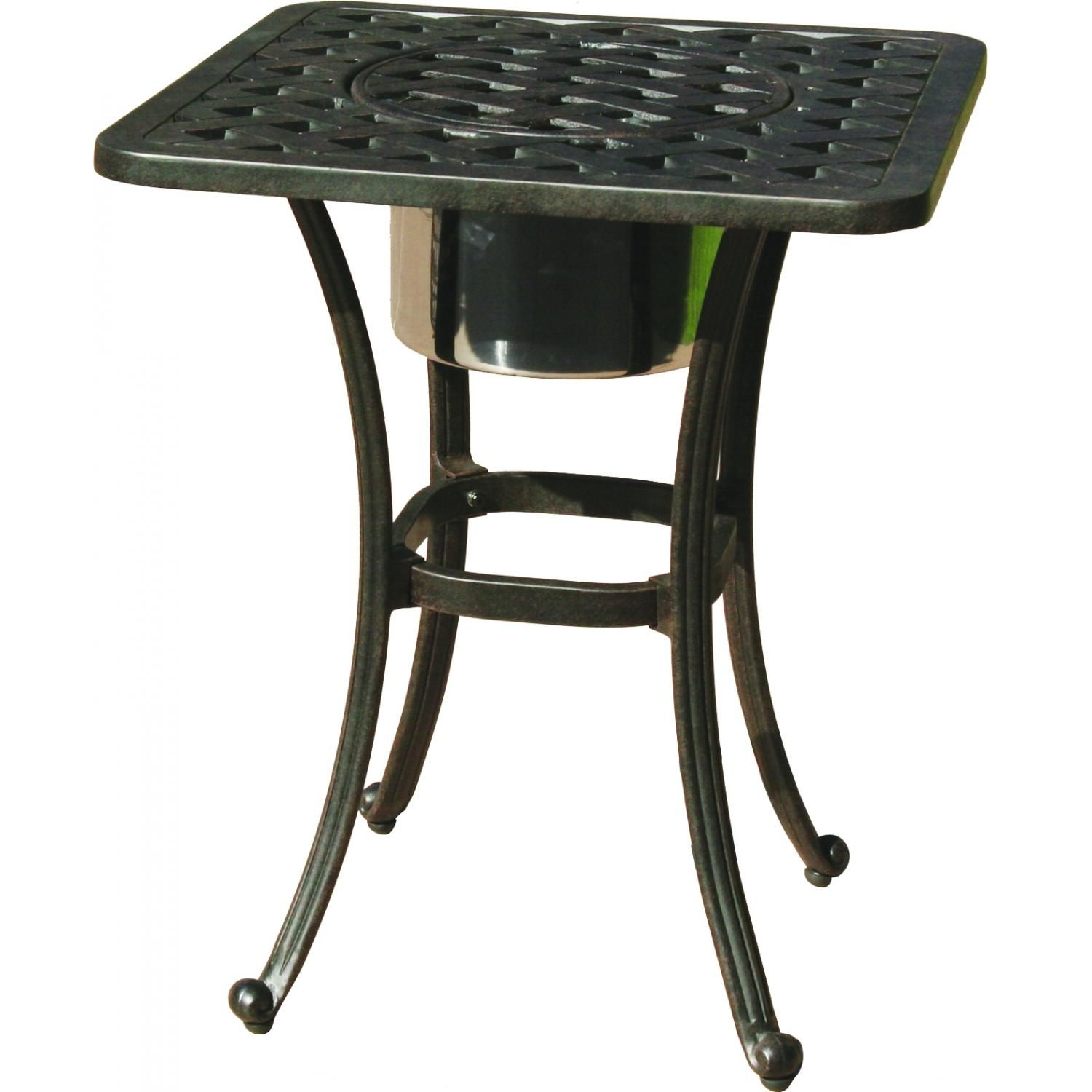 Darlee Series 30 Cast Aluminum Patio End Table With Ice Bucket