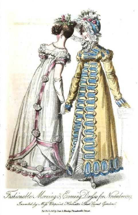 The Lady's Museum, Morning and Evening Dress, November 1819.   THAT. PELISSE.  Easily one of the loveliest things I have ever posted on this here tumblr.  The colors are so gorgeous and I adore that trim work.