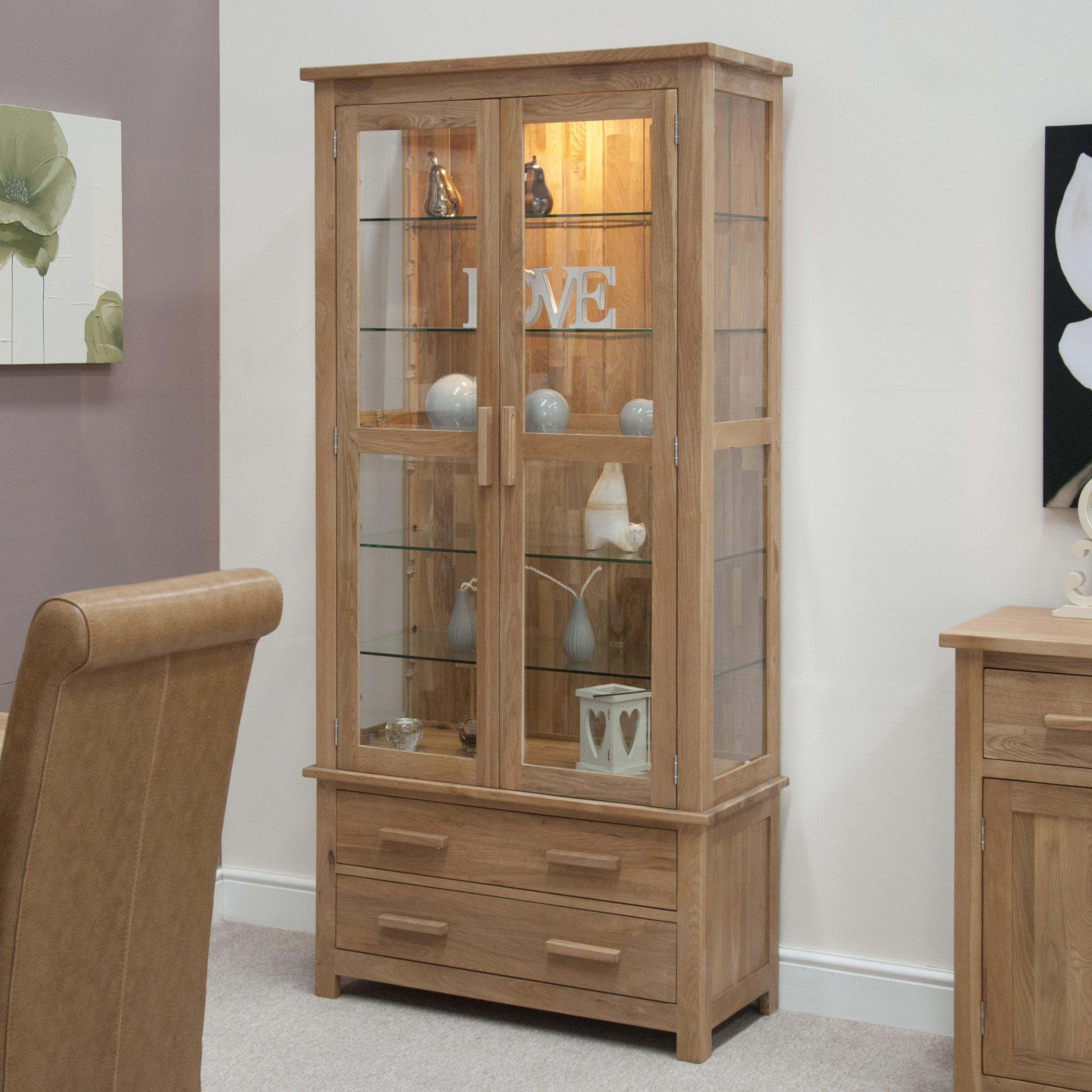 corner furnishers happy oak verona pin display dining home occasional hutch glass cabinet