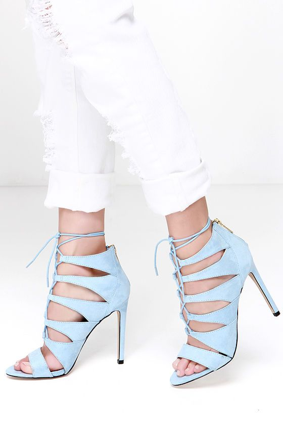 902aed09bdb Madden Girl Raceyyy Baby Blue Suede Lace-Up Heels at Lulus.com!