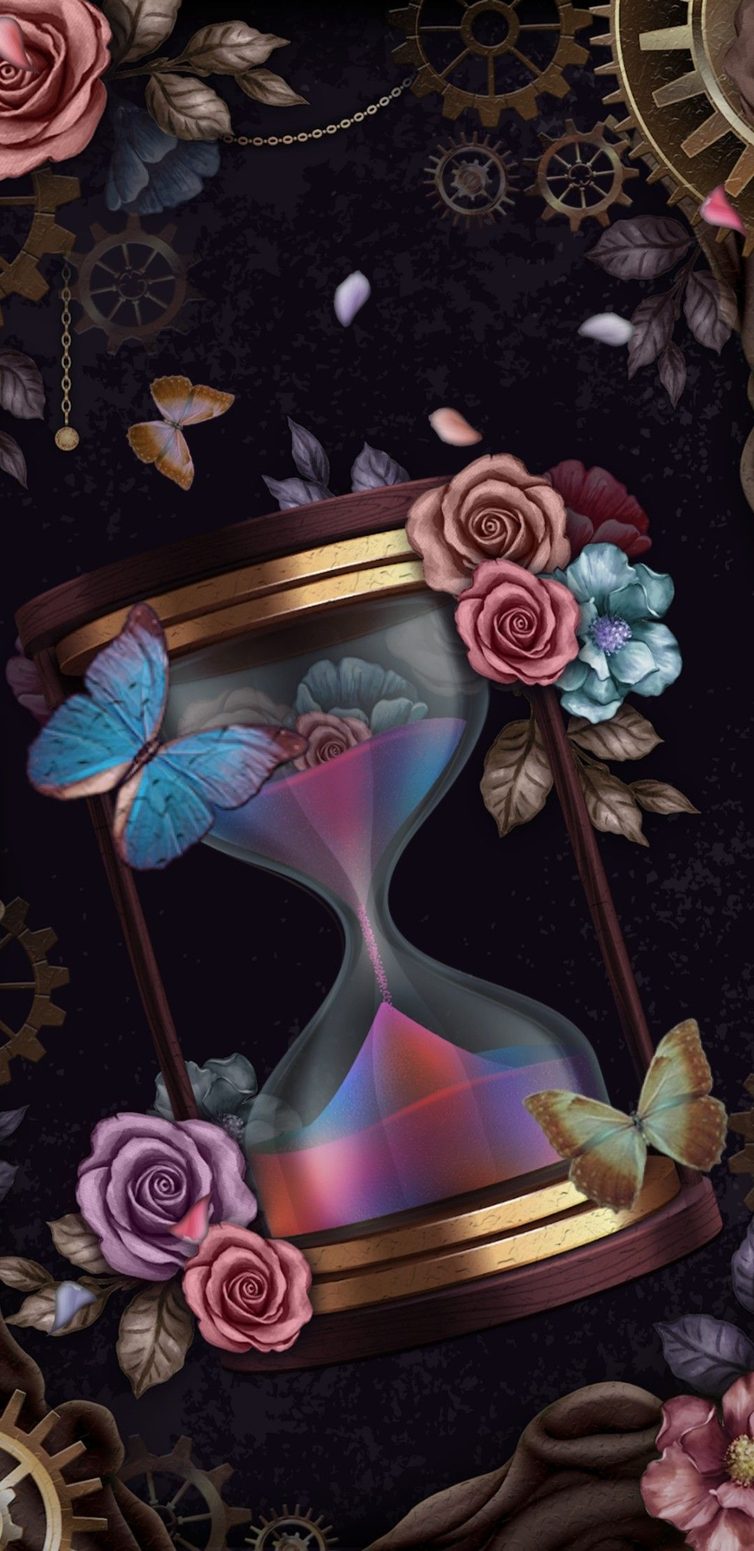 Сайт fon1.ru Clock wallpaper, Butterfly wallpaper