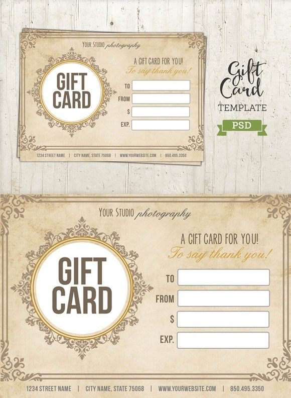 Gift Card Template Psd Certificate Printables 6 00