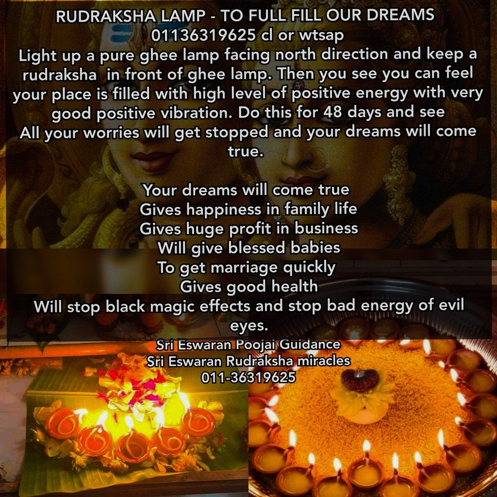 RUDRAKSHA LAMP - TO FULL FILL OUR DREAMS 01136319625 cl or
