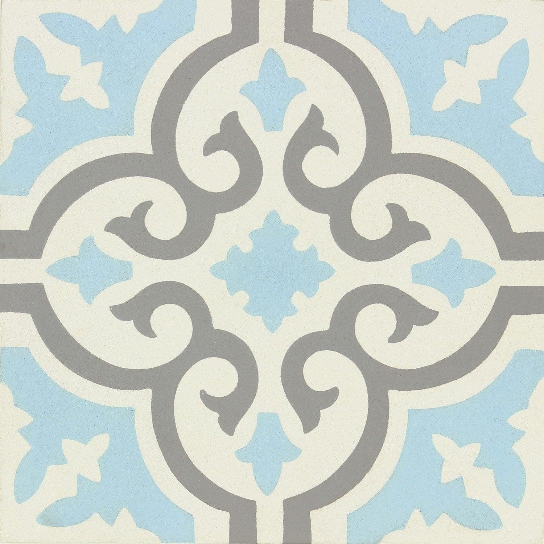 Carreau De Ciment Mur Gris Bleu Blanc Mat L 20 X L 20 Cm Belle Epoque Elise No Name Carreaux De Ciment Mural Carreaux De Ciment Salle De Bain Et Carrelage Motif