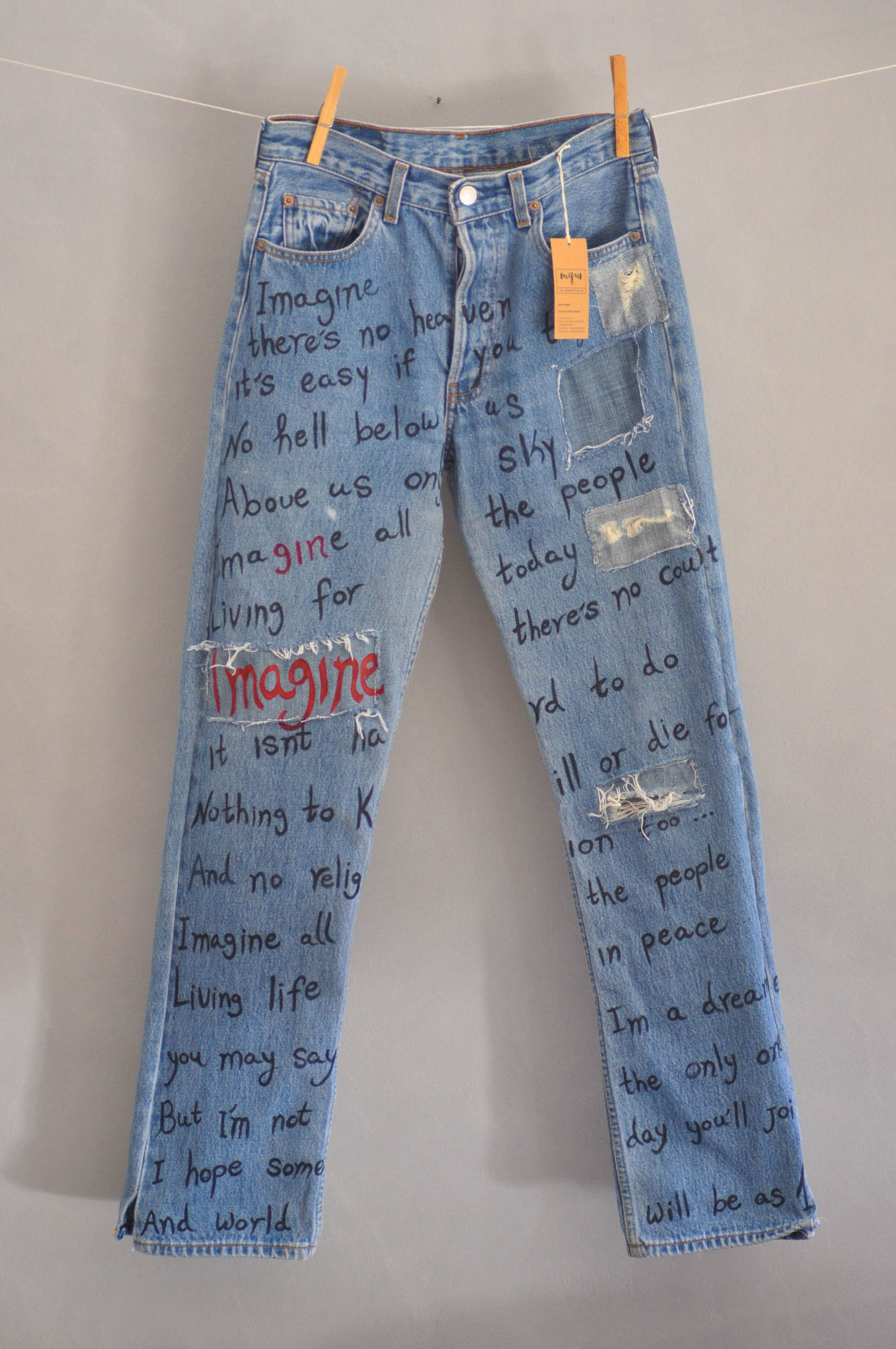 e1f6994273 Levis 501 hand made embroidery unique patches painted denim redone jeans  boyfriend jeans Hand Painted One