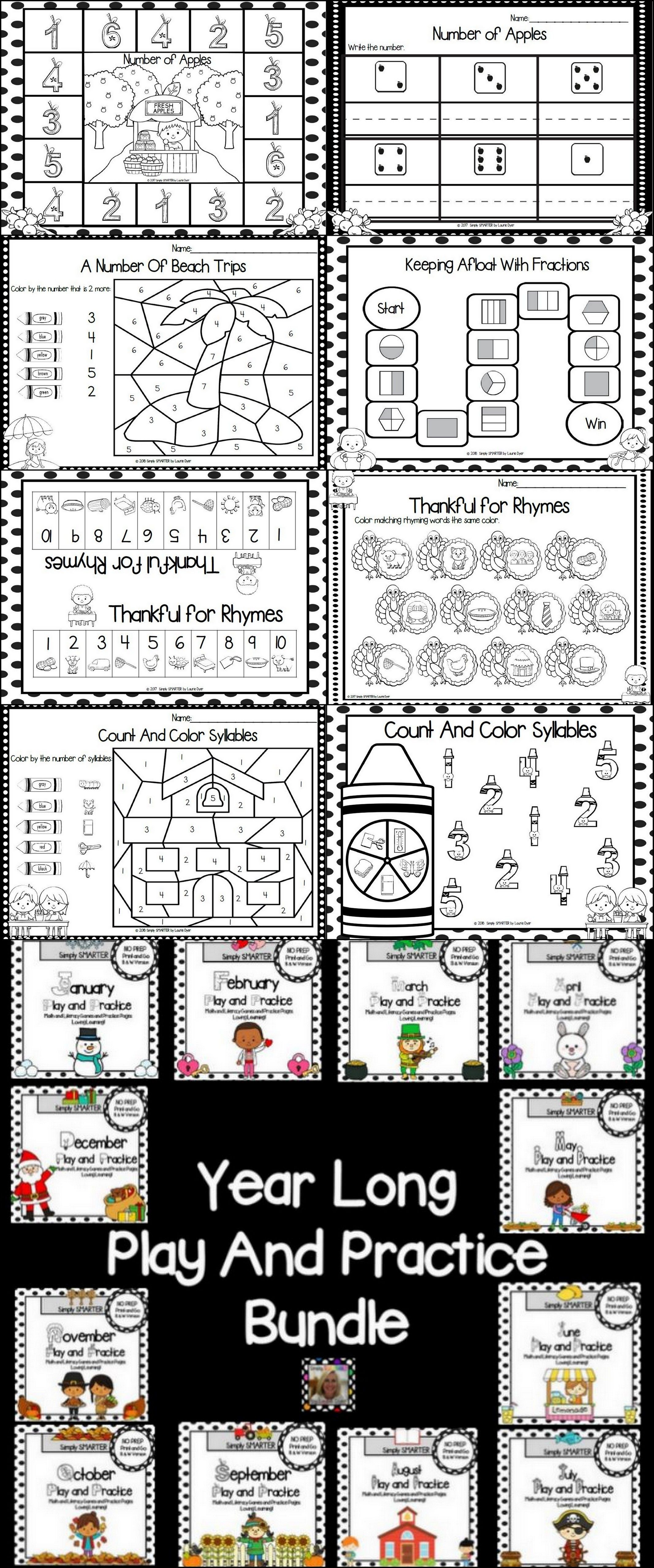 Year Long Play And Practice Bundle Math And Literacy