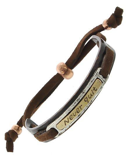 Copper Tone & Two-tone / Brown Suede / Lead&nickel Compliant / Metal / Adjustable / Message / Bracelet