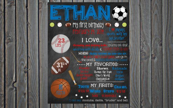 custom printable first birthday favorites poster board sign