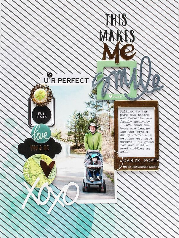 #papercrafting #scrapbook #layout   This Makes Me Smile by Carson at @studio_calico