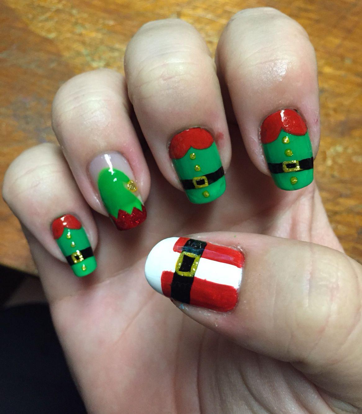 christmas nails. elf, santa, hat. green, red, gold, black. nail