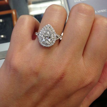 Pear Baby Split Double Halo Engagement Ring - by Debebians | halo ...