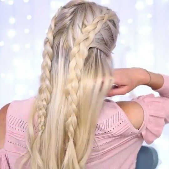 Two Dutch Braids Half Up Half Down Credit Roxxaurus Do To Dutch Braids From The Front Of Your Hair And Braid Half Up Half Down Dutch Braid Half Up Hair Styles