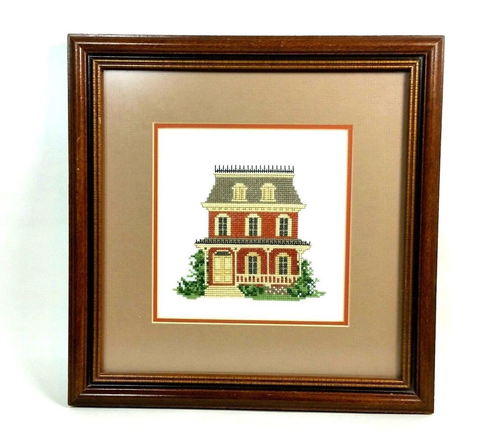 Victorian House Framed Cross Stitch Wall Hanging Completed Finished ...