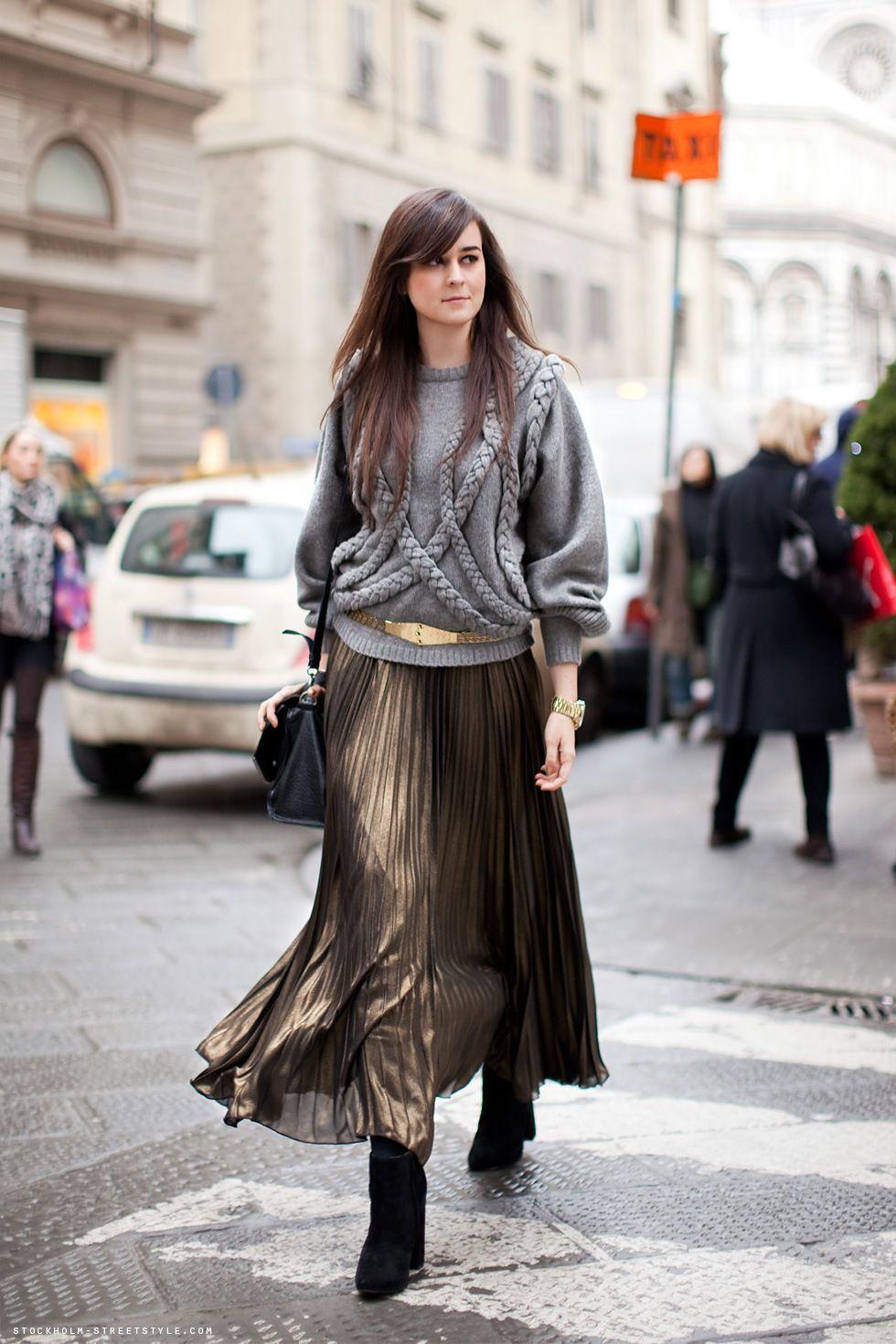 Pleated skirt + knitwear