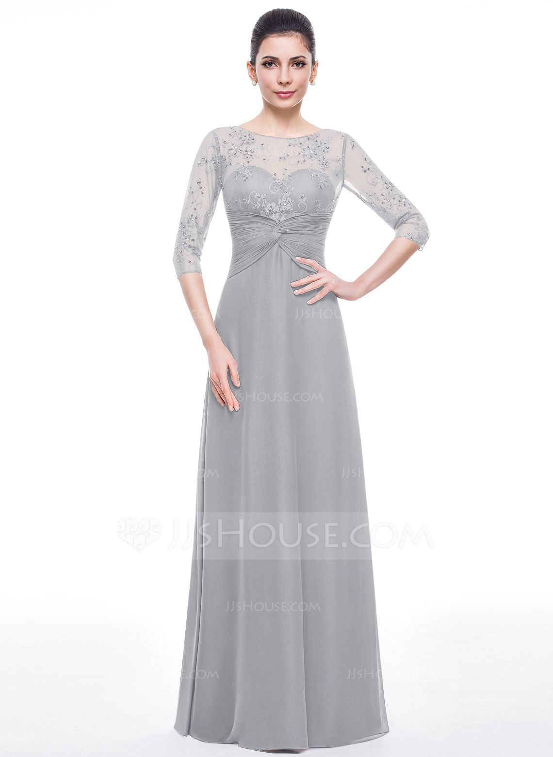 Alineprincess scoop neck floorlength chiffon lace mother of the