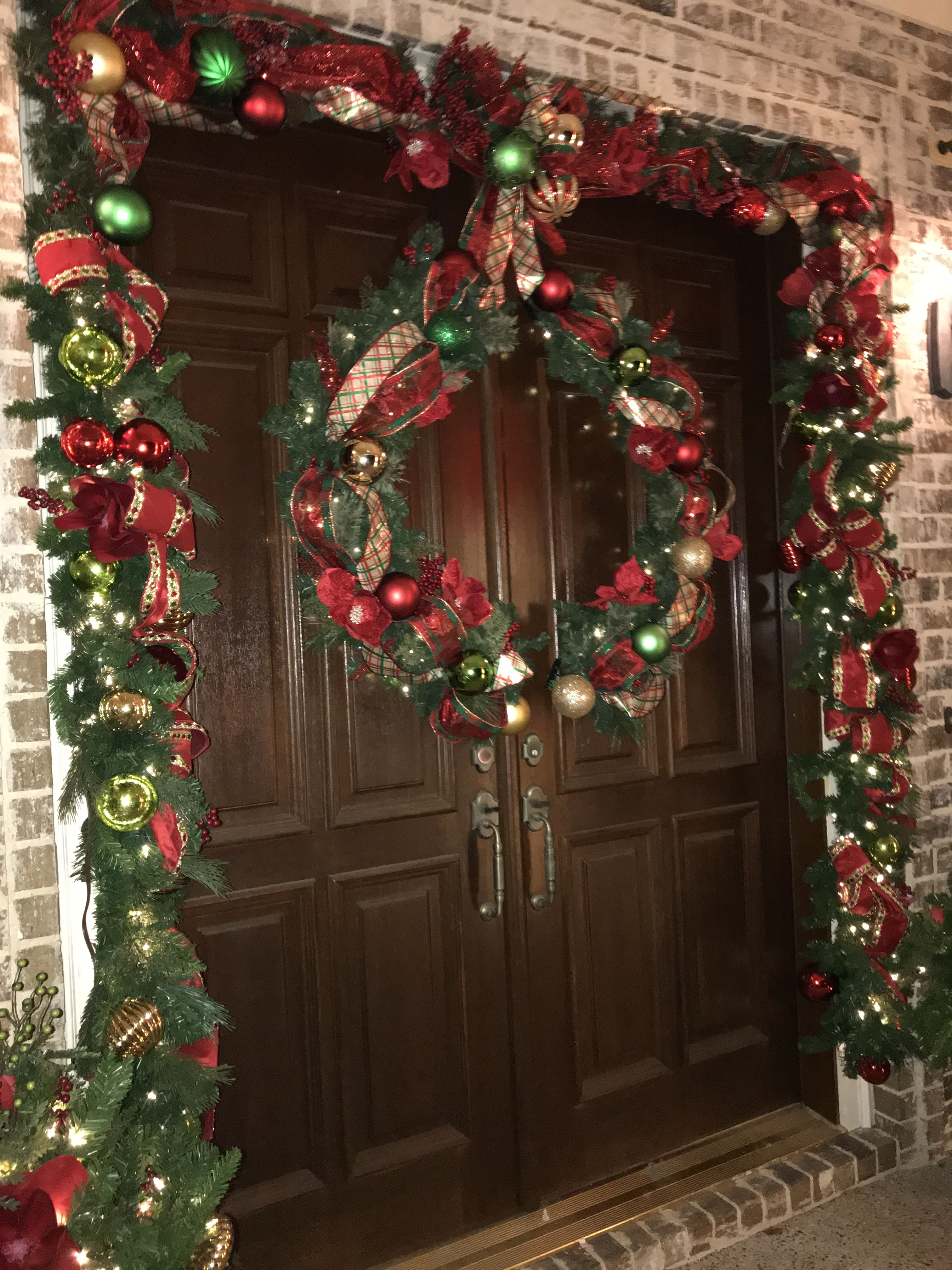 Double Doors Split Wreath Christmas Christmas Wreaths Christmas Greenery Festival Decorations