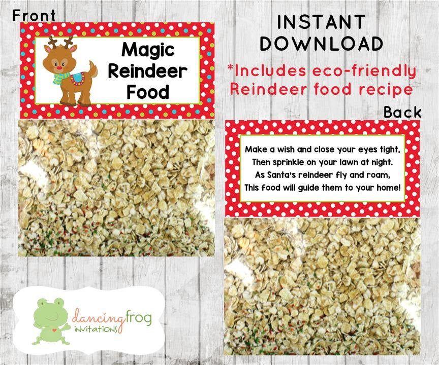 Holiday Christmas, Magic Reindeer Food Treat Bag Topper