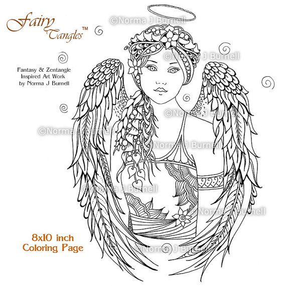 Angel Fairy Tangles Adult Printable Coloring Book Pages by Norma ...