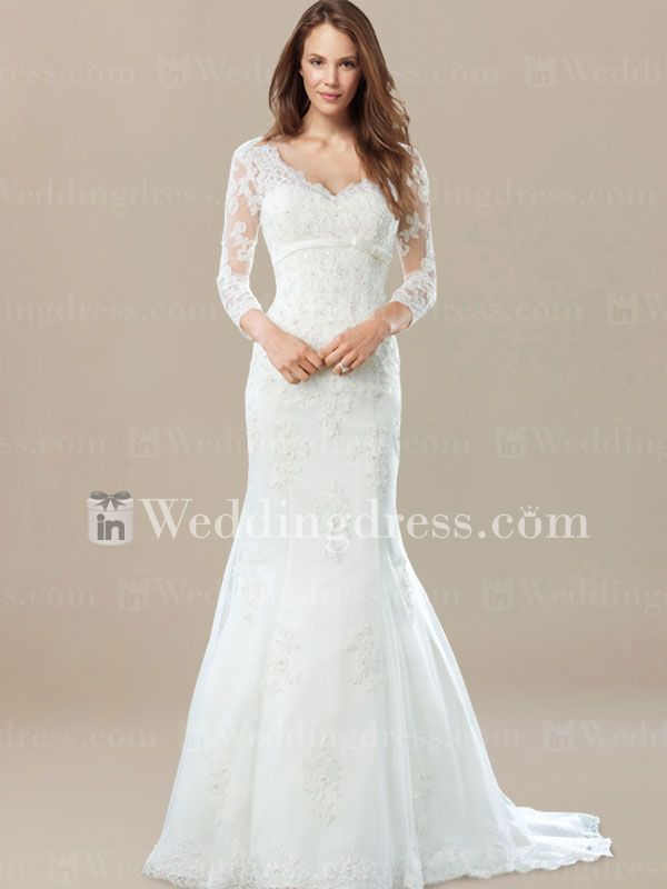 3 4 Sleeves Vintage Inspired Wedding Dress De360