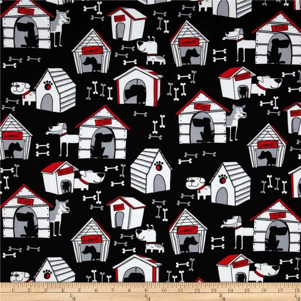 Kanvas yard dog house black accent colors fabrics and paper animals