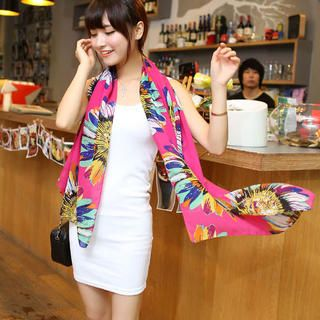 Sunflower-Print Chiffon Scarf from #YesStyle <3 Cuteberry YesStyle.com